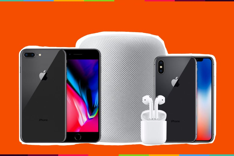 A HomePod, AirPods, and iPhones.