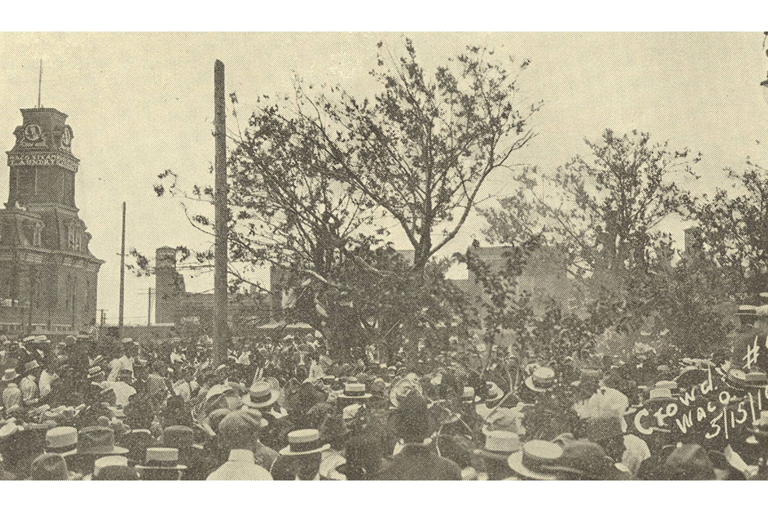 A crowd behind Waco's city hall.