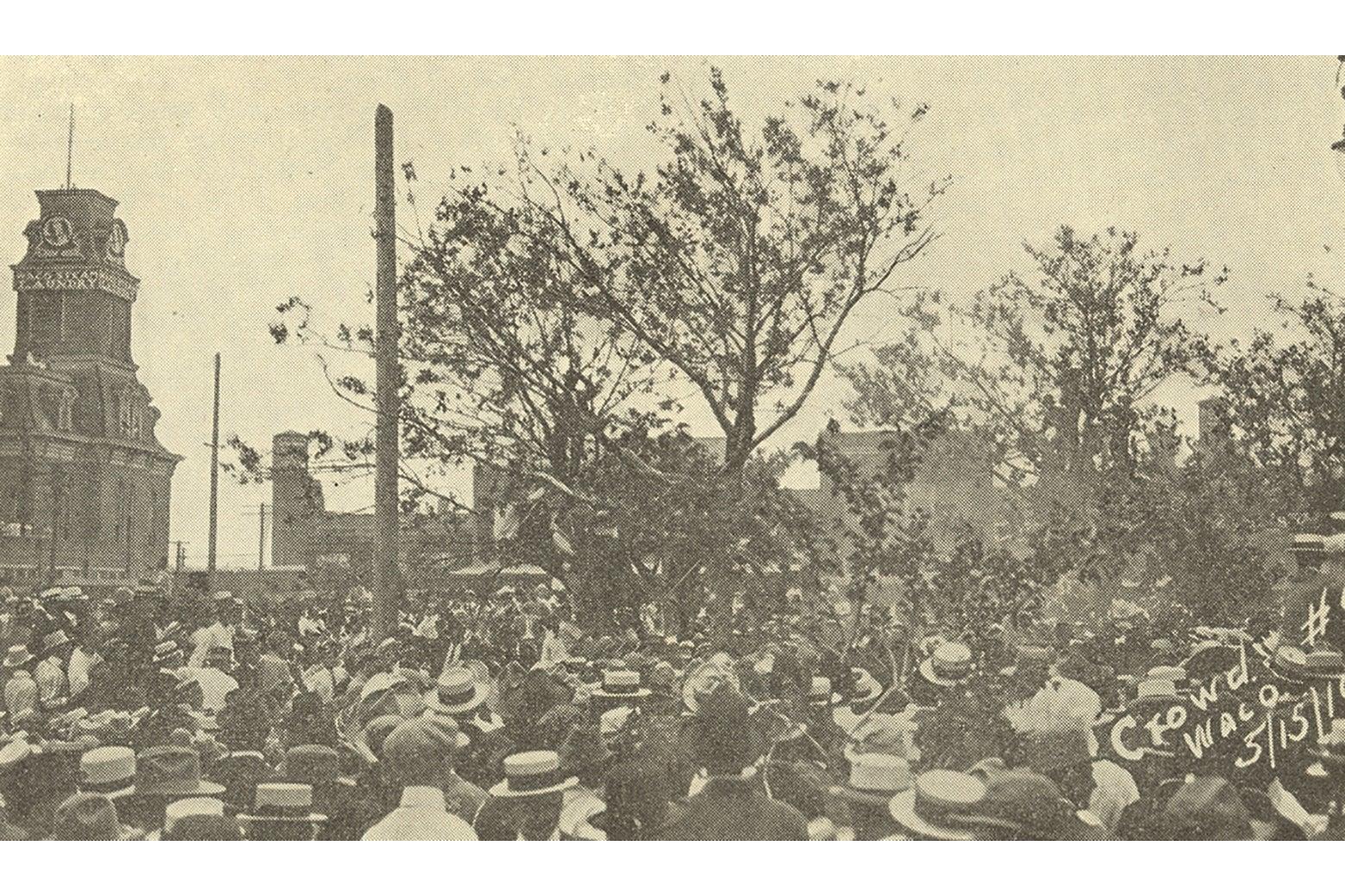 A crowd behind Waco's city hall.