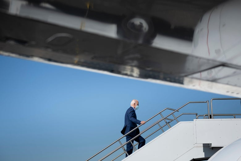 Joe Biden boards his plane to Nevada, October 9, 2020.