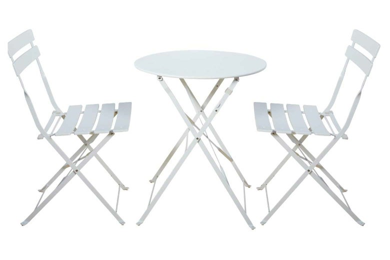 A white bistro table set with two chairs.