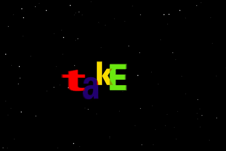 "The word ""take"" in eBay logo style."