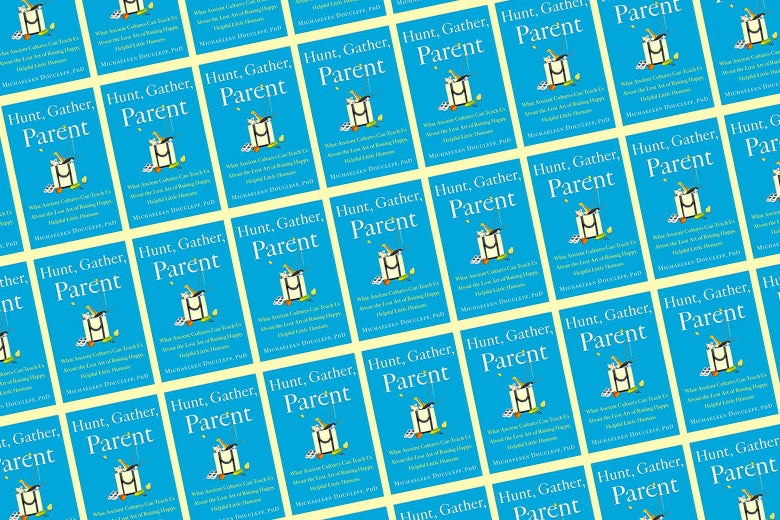 A repeating pattern of the cover of the book Hunter, Gather, Parent.