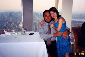 Jorge Mancillas and Patricia Esparza on the day he proposed, Aug. 1, 2001