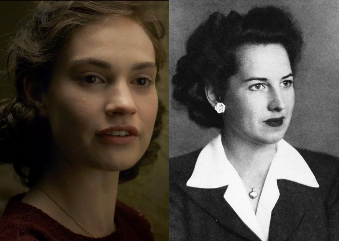 Lily James as Elizabeth Nel née Layton in Darkest Hour and the real Elizabeth Nel.