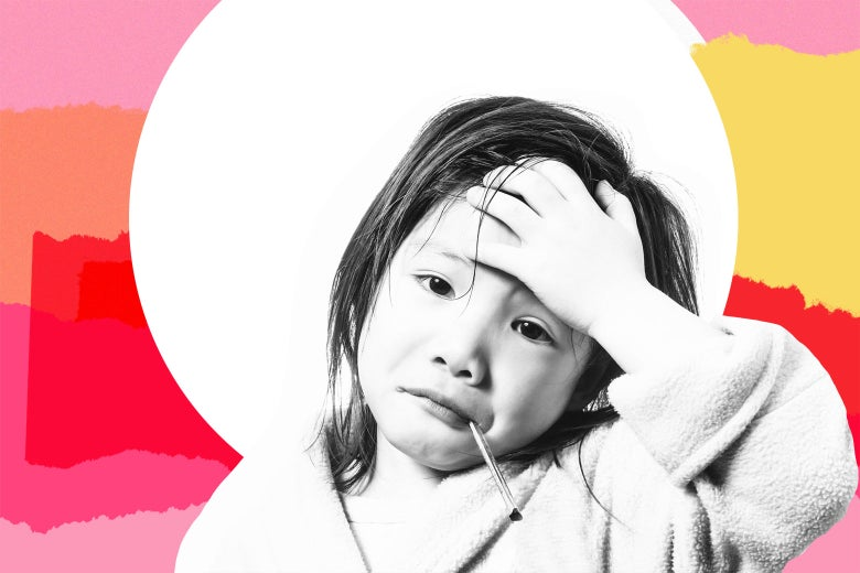 A sick kid wearing a bathrobe clutches her forehead, a thermometer sticking out of her frowning mouth.