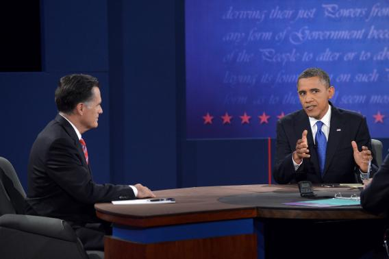 President Obama and Mitt Romney participate in the third and final presidential debate in Boca Raton, Florida, on October 22.