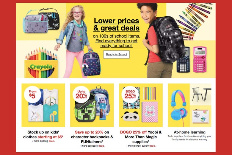 A Target ad showing school supplies and smiling kids with backpacks