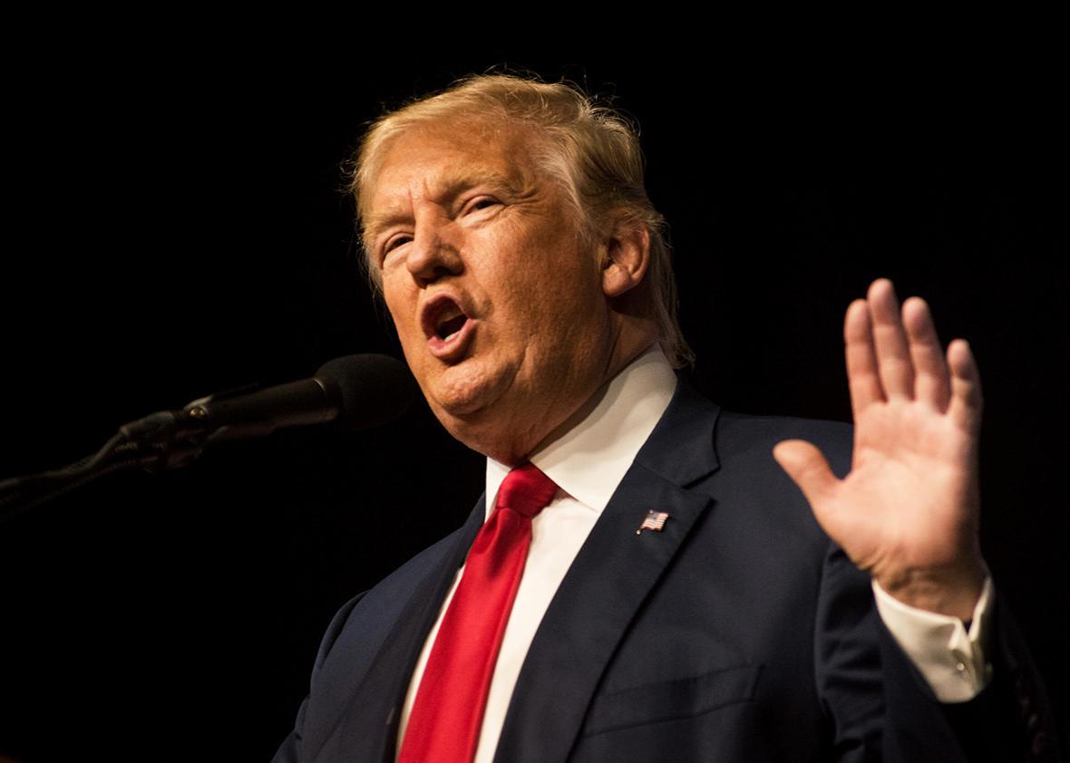 Republican presidential nominee Donald Trump speaks at a political rally held at the Pueblo Convention Center on October 3, 2016 in Pueblo, Colorado.
