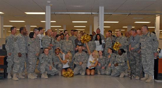 The Saintsations with Louisiana National Guardsmen