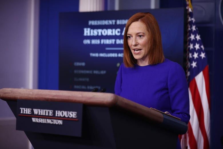 White House Press Secretary Jen Psaki conducts her first news conference of the Biden Administration in the Brady Press Briefing Room at the White House January 20, 2021 in Washington, DC.