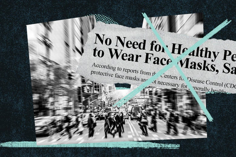 An X over a headline about masks not being necessary accompanied by a picture of a busy city street.