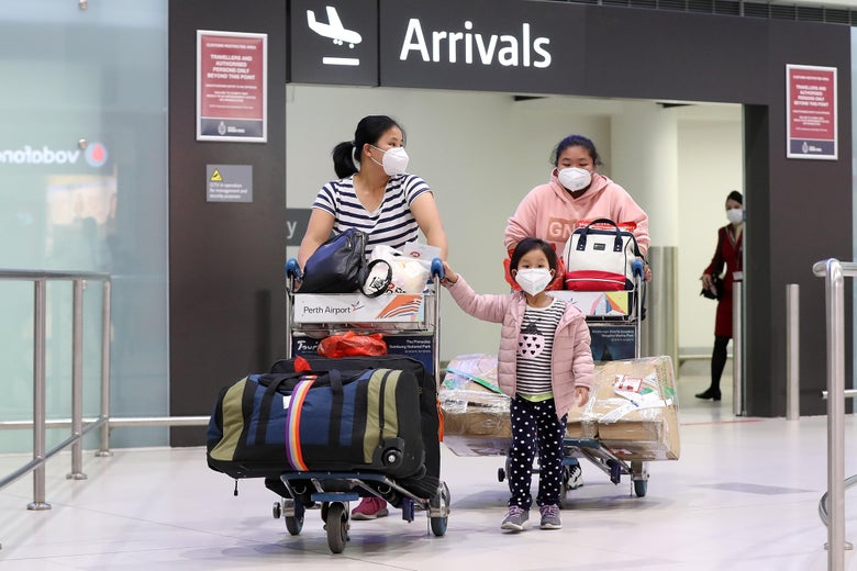 Passengers from China Southern Airlines flight CZ319 arrive at Perth International Airport on February 2, 2020 in Perth, Australia.