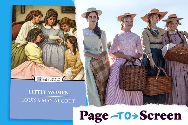 Photo illustration of the Little Women book and a still from the 2019 adaptation.