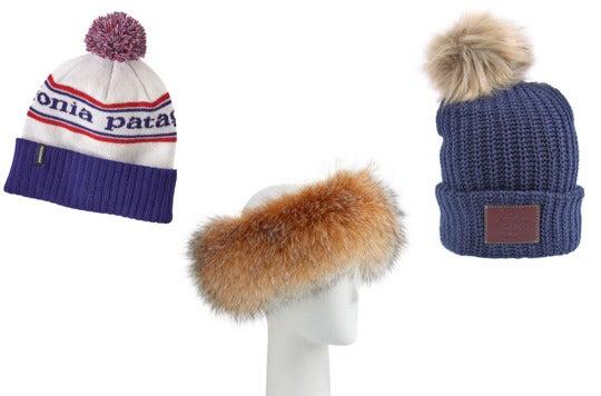 Pom beanie, fur headband, beanie.