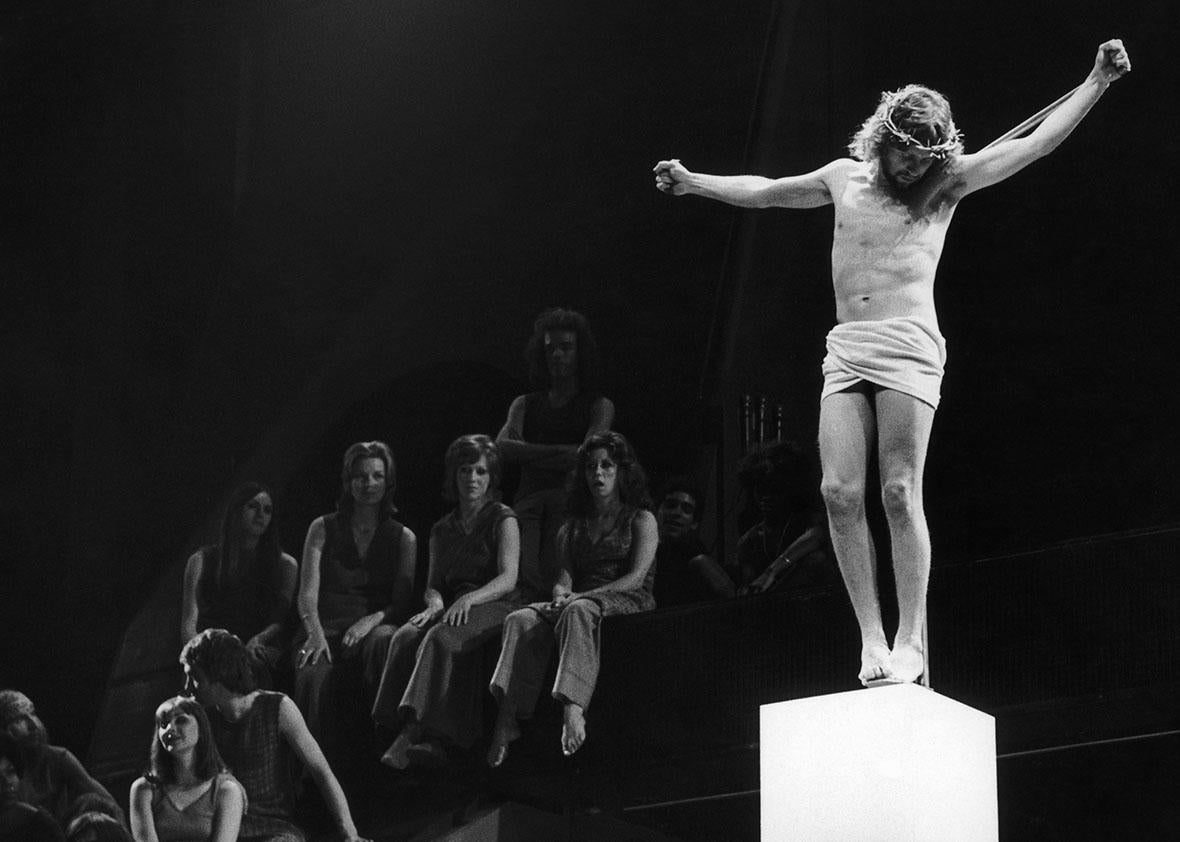 A performance of Jesus Christ Superstar, on stage at the Palace Theatre, London, in 1972.
