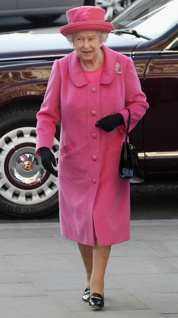 Queen Elizabeth II wearing pink.