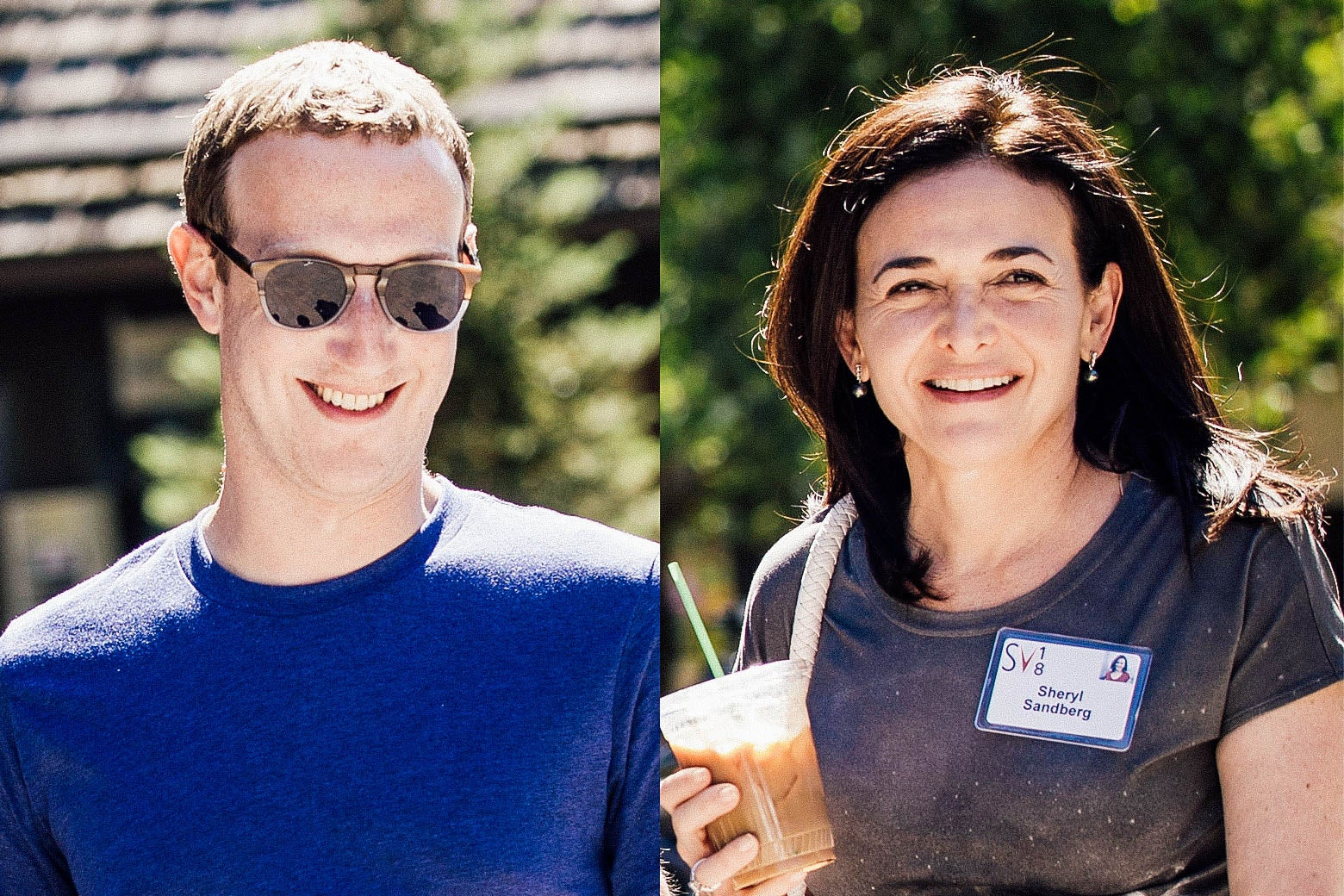Mark Zuckerberg and Sheryl Sandberg, smiling, because they have reasons to smile this week.