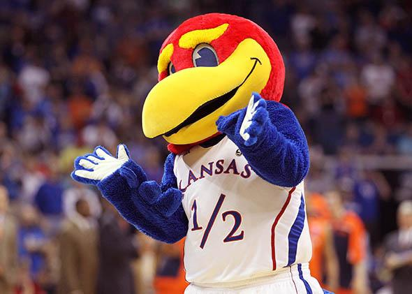 The Kansas Jayhawks mascot performs during the game against the Illinois Fighting Illini in the 2011 NCAA men's basketball tournament, March 2011 in Tulsa, Oklahoma.