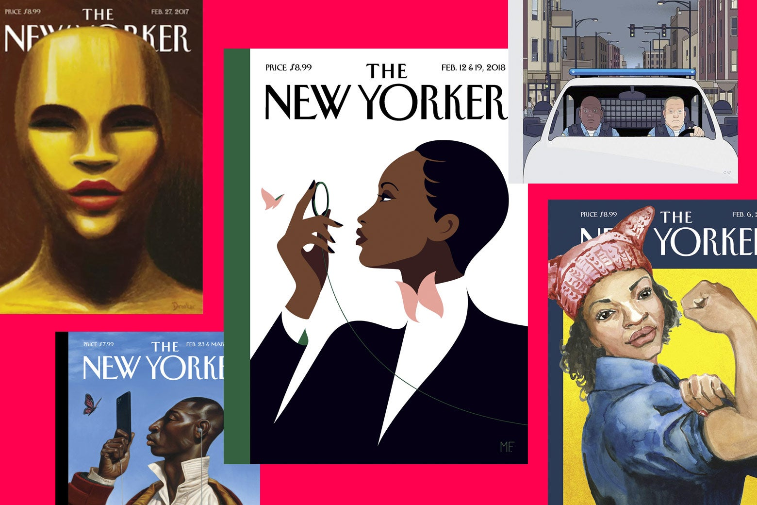 Five recent New Yorker covers featuring black people (including the one of Eustace Tilley as a black woman).
