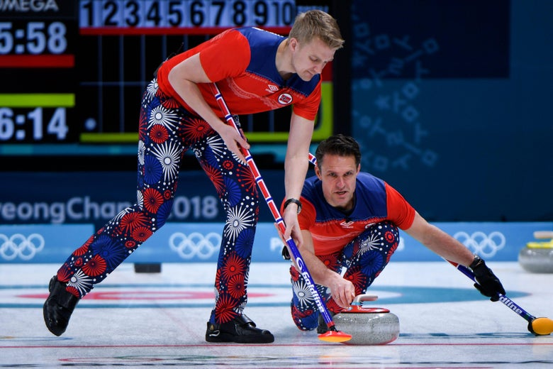 Norway's Thomas Ulsrud pushes the stone during the curling men's round robin session between Norway and Denmark during the Pyeongchang 2018 Winter Olympic Games at the Gangneung Curling Centre in Gangneung on February 18, 2018. / AFP PHOTO / WANG Zhao        (Photo credit should read WANG ZHAO/AFP/Getty Images)