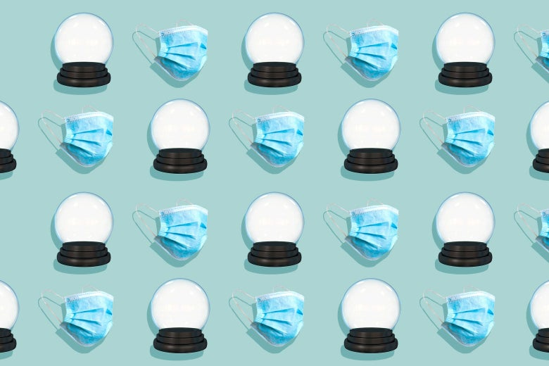 A repeating pattern of crystal balls and disposable face masks.