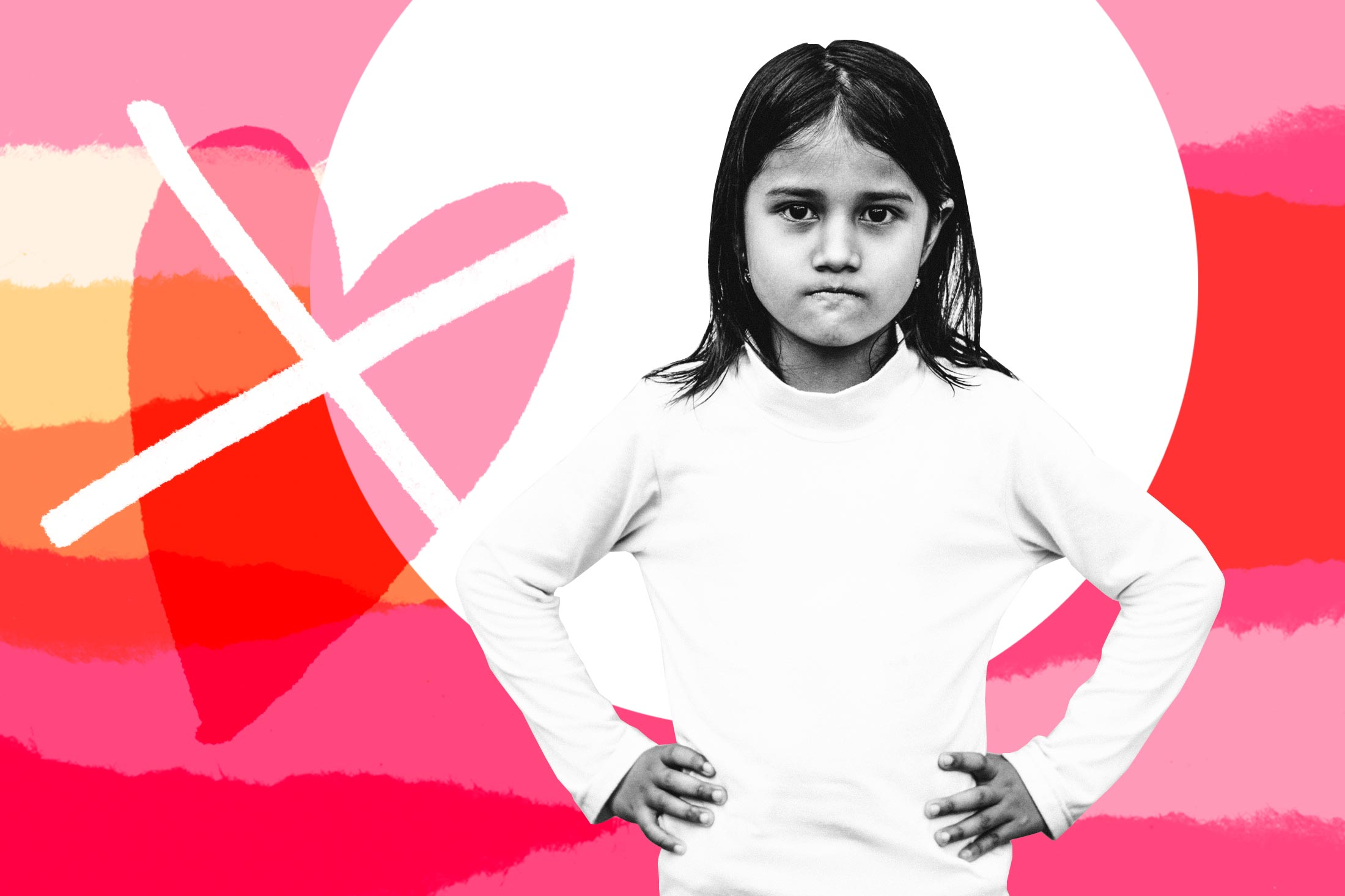 A girl frowning, with her hands on her hips, next to a crossed-out valentine heart.