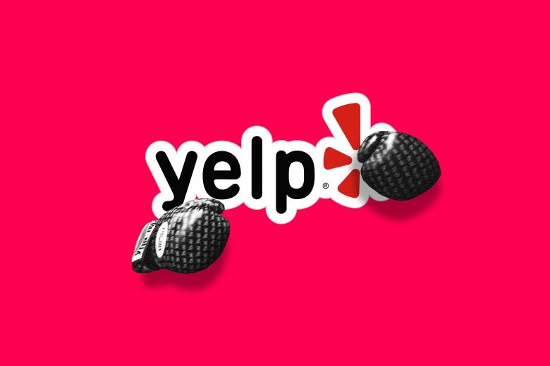 Photo illustration of the Yelp logo wearing boxing gloves.