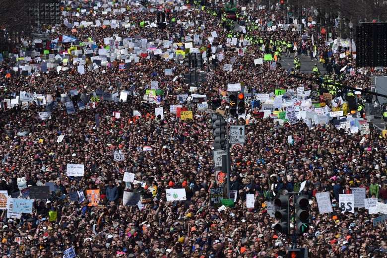 Crowds gather during the March for Our Lives Rally in Washington, DC on March 24, 2018.