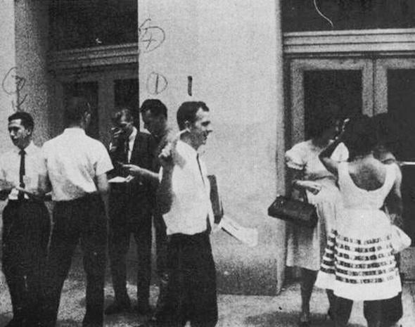 "Lee Harvey Oswald and others handing out ""Fair Play for Cuba"" leaflets in New Orleans, August 16, 1963"