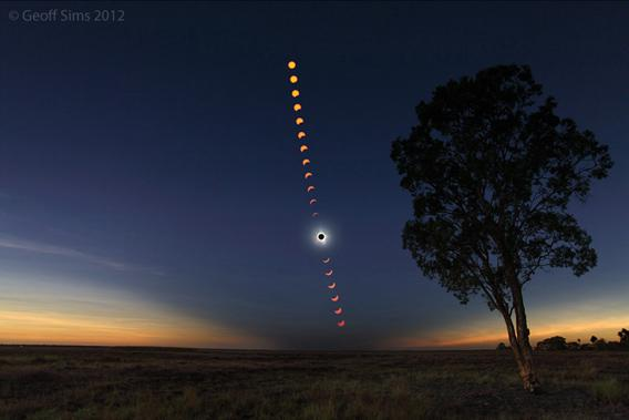 Sequence of photos showing the solar eclipse over Australia in 2012