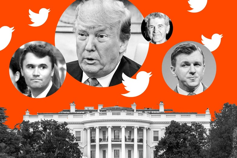 Twitter birds and photo bubbles of Charlie Kirk, Donald Trump, Bill Mitchell, and James O'Keefe floating above the White House.