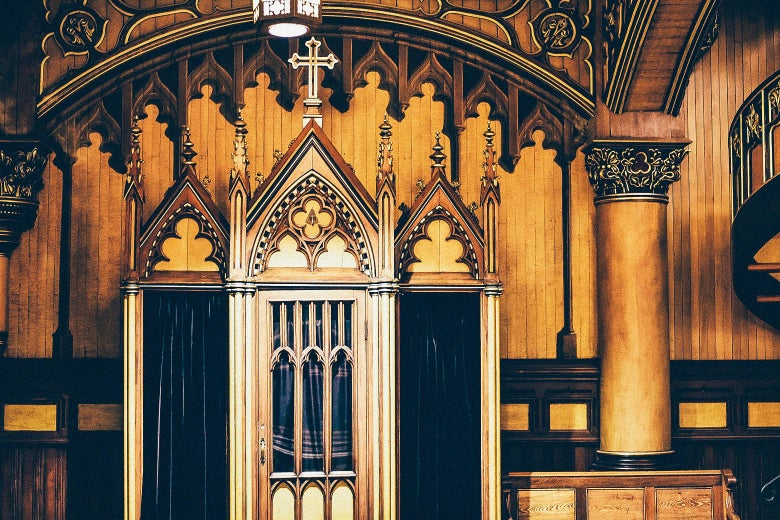 An ornate confessional booth.