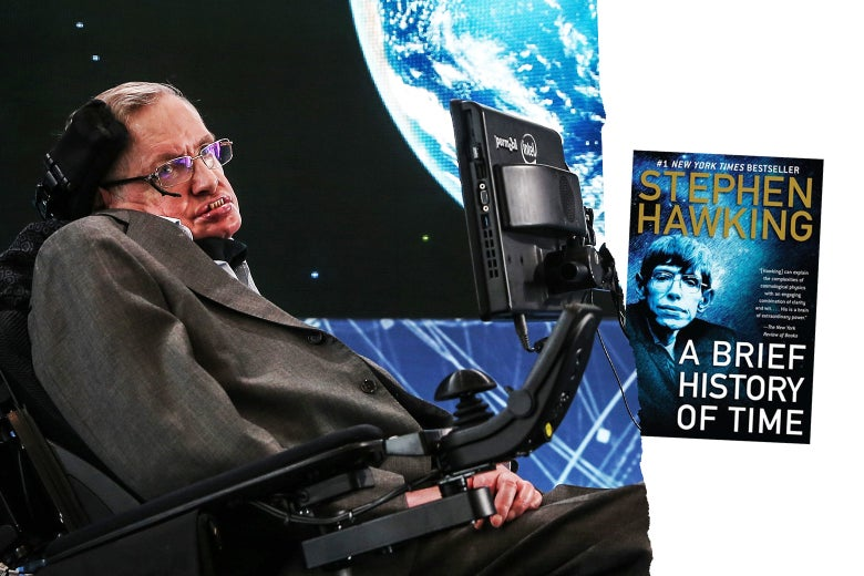 Stephen Hawking and his book A Brief History of Time.