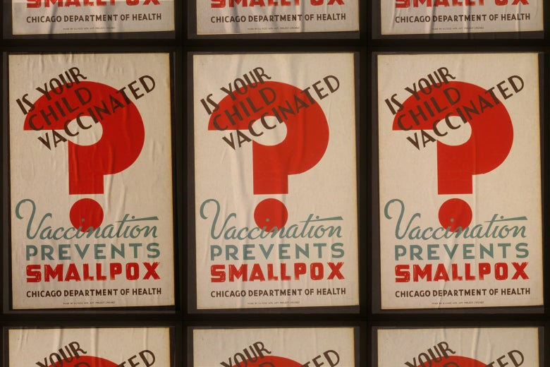 """A poster from the Chicago Department of Health says, """"Is your child vaccination? Vaccination prevents smallpox."""""""