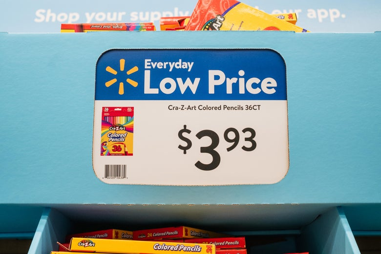 HOUSTON, TEXAS - AUGUST 04: A price-tag is shown at a Walmart store on August 04, 2021 in Houston, Texas. The cost of back-to-school items is on the rise due to a combination of delays in U.S. manufacturing and heightened consumer demand for goods. The steep increases are partially due to both elementary and college-aged students returning back to school after missing in-person class sessions during the pandemic.  (Photo by Brandon Bell/Getty Images)