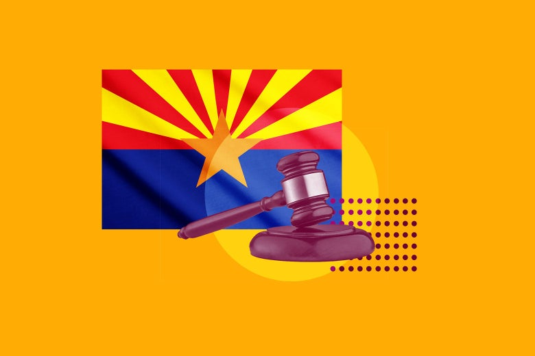Collage of the Arizona state flag and a gavel.