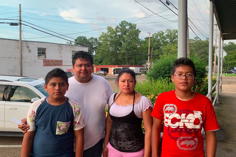 Mario Salazar, second from left, with his family.