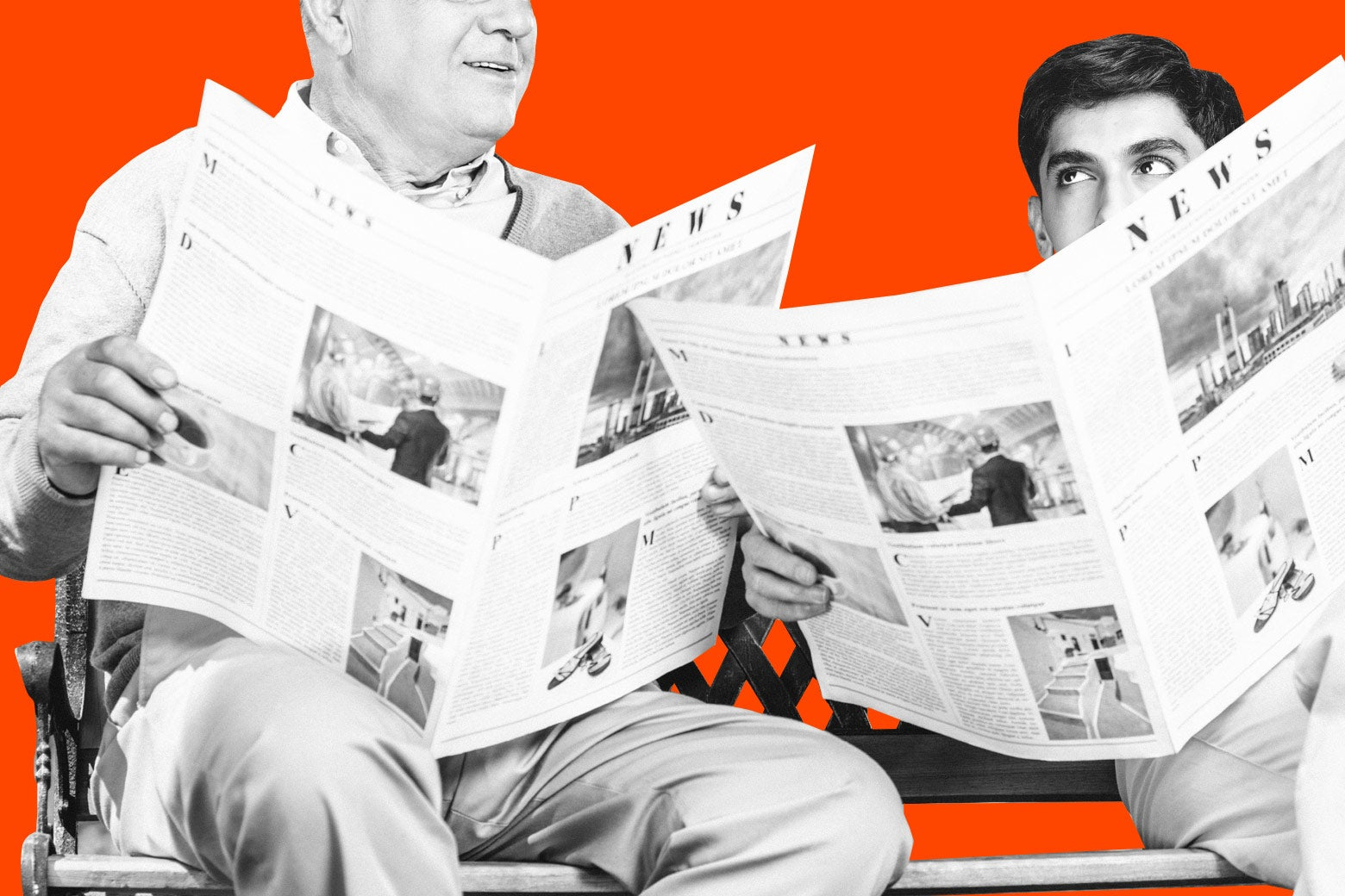An older adult and a young adult both read the newspaper.