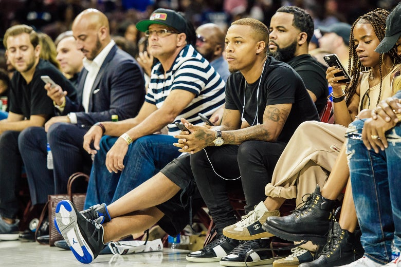 Actor / rapper Bow Wow looks on during a BIG3 Basketball league game on July 16, 2017 at Wells Fargo Center in Philadelphia.