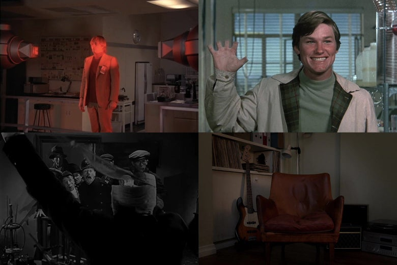 Four stills from various films and tv shows about invisibility. One, from The Invisible Man, shows a man in a tan 1970s suit bathed in red light from an apparatus. One shows Claude Rains as the original Invisible Man, horrifyng the townspeople. One shows a very young Kurt Russel holding up a hand with invisible fingers, and the last is from Universal's new film of The Invisible Man, and it shows a red leather chair with the indentations from an invisible man sitting on it.