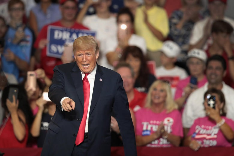 President Donald Trump speaks at a rally to show support for Ohio Republican congressional candidate Troy Balderson on August 4, 2018 in Lewis Center, Ohio.