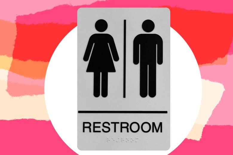 A binary gendered restroom sign.