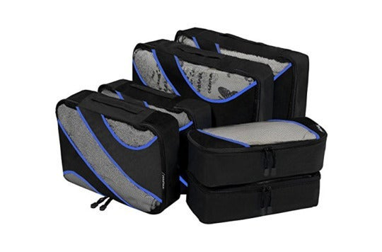 Six-piece set of packing cubes.