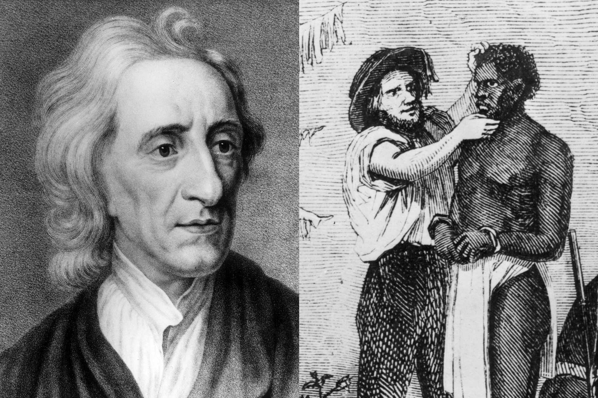 John Locke, and a wood graving of white trader inspecting an African slave during a sale, circa 1850.