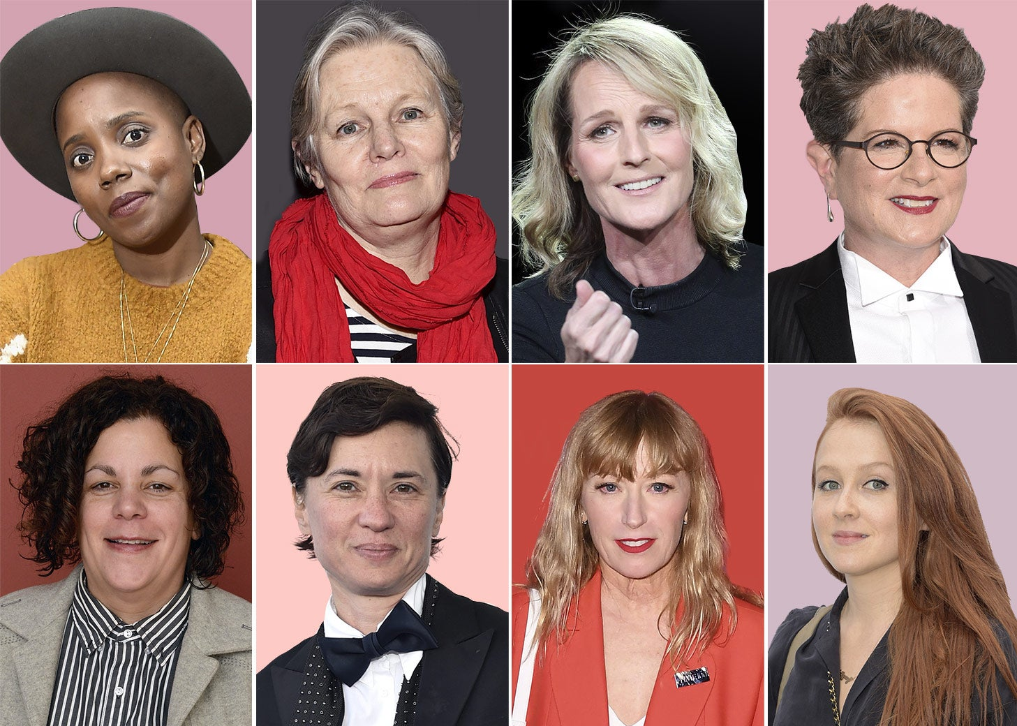 Some of the female and gender-fluid filmmakers whose movies Vachon has produced. Row 1: Janicza Bravo, Mary Harron, Helen Hunt, and Phyllis Nagy. Row 2: Rose Troche, Kimberly Peirce, Cindy Sherman, and Elizabeth Wood.