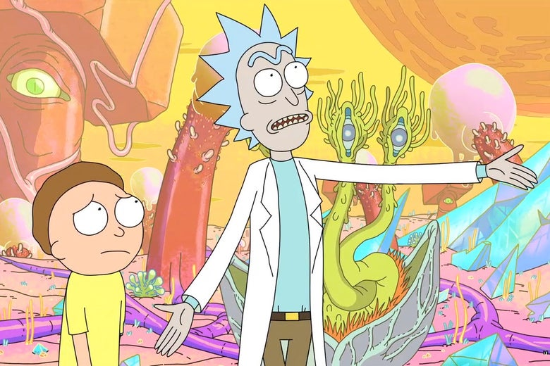 A still from the animated show Rick and Morty.