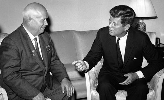 Soviet Premier Nikita Khrushchev, left, and U.S. President John F. Kennedy.