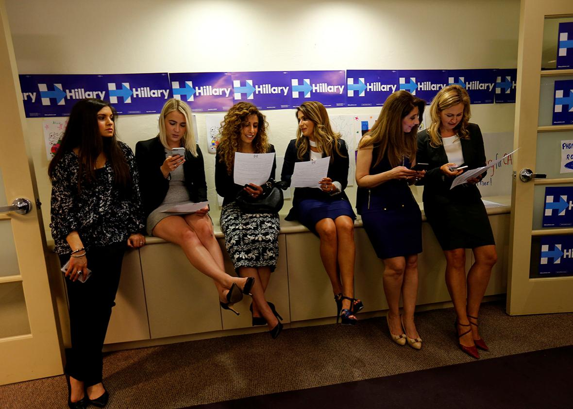 Campaign workers at a local Hillary Clinton organizing office wait for U.S. Democratic presidential candidate Hillary Clinton to visit during a stop in San Diego, California, United States, June 2, 2016.