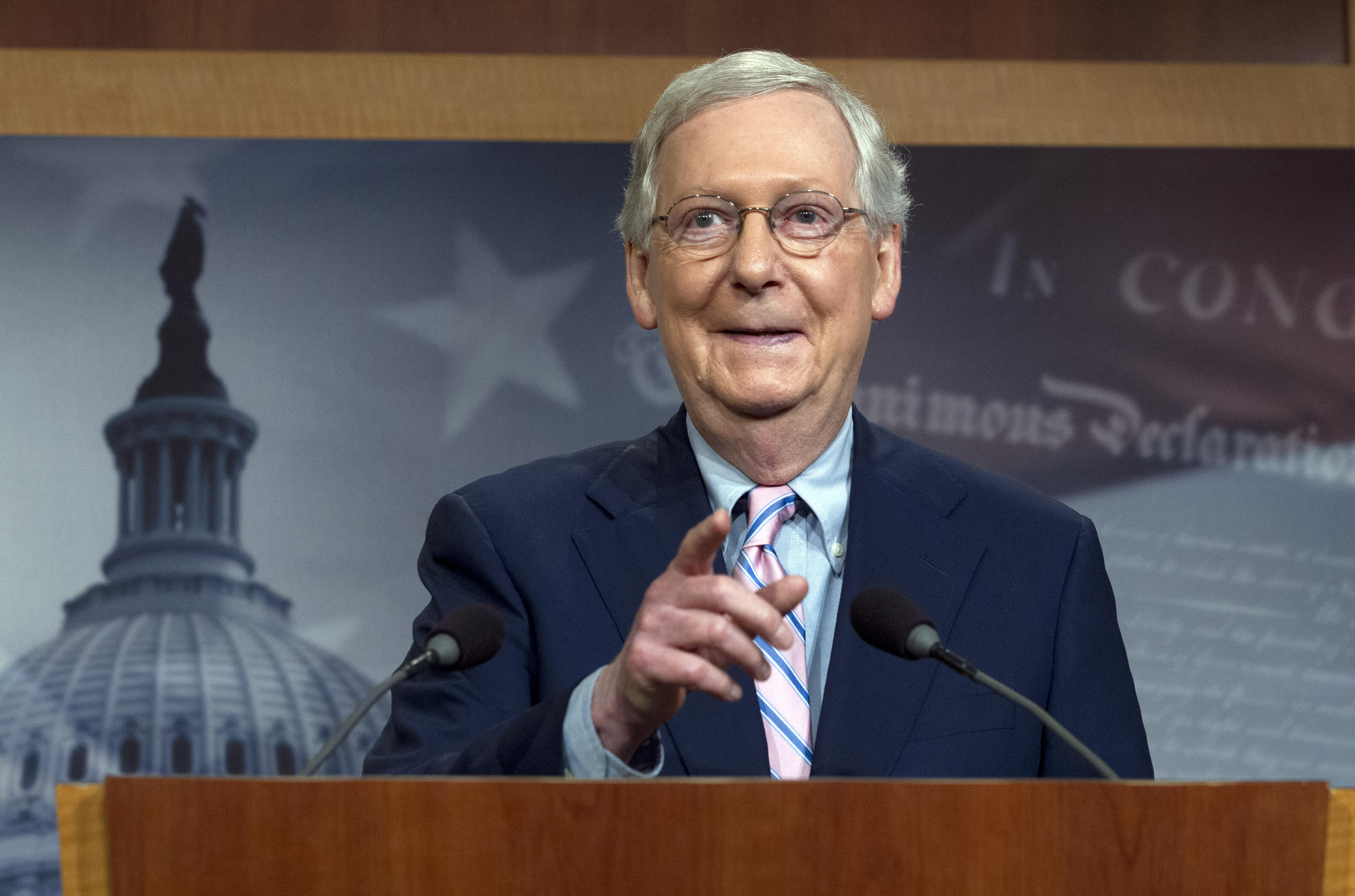 Senate Majority Leader Mitch McConnell, R-KY, speaks during a news conference following the confirmation vote of Supreme Court nominee Brett Kavanaugh on Capitol Hill in Washington D.C. on October 6, 2018.